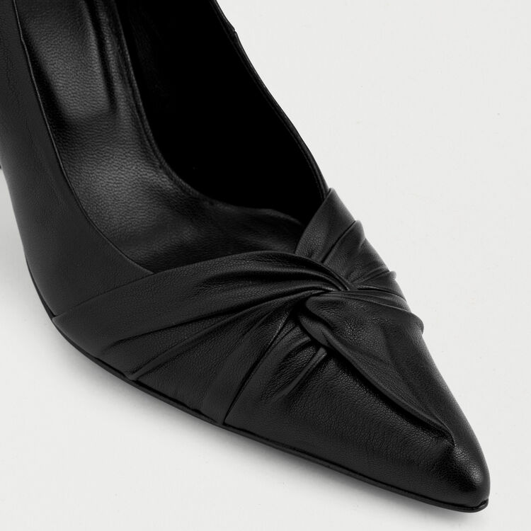 Draped leather pumps : null color Black 210