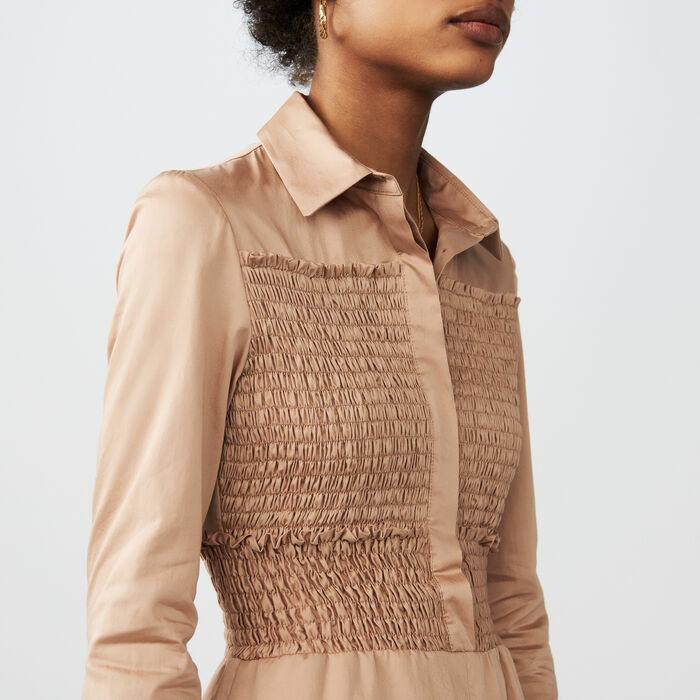 Smocked cotton romper : Skirts & Shorts color SAND BEIGE