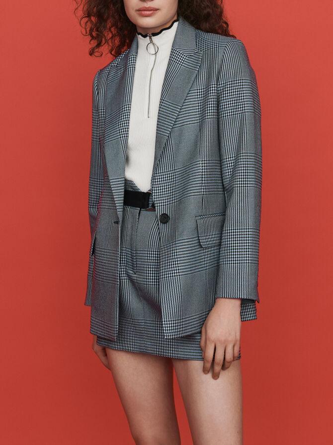 Straight-cut plaid jacket - SoldesFR_40 - MAJE