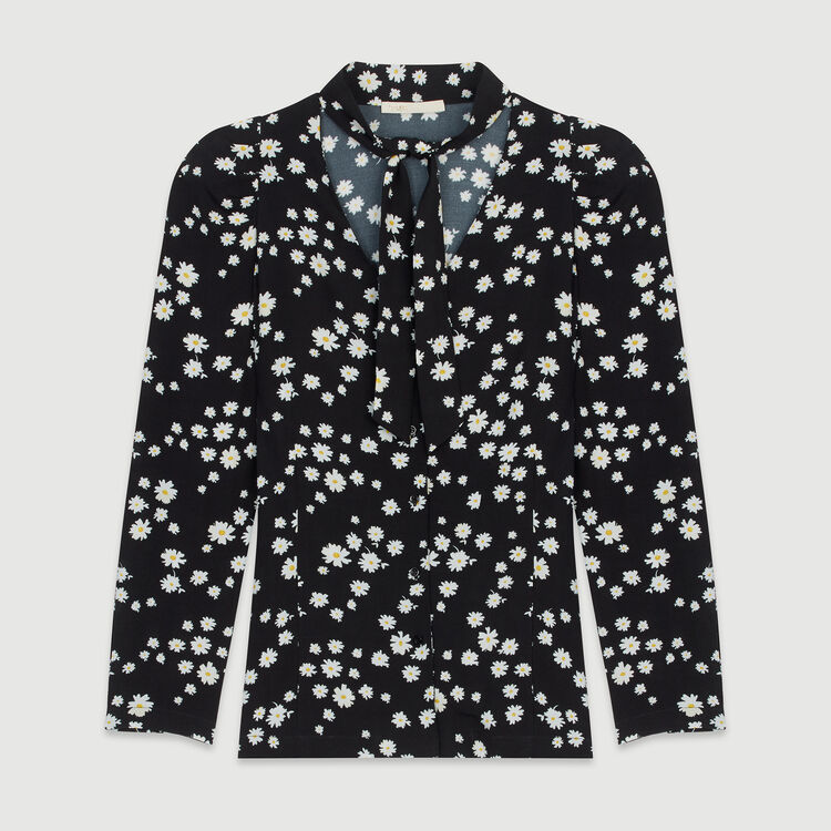 Printed shirt with lavalier : Tops & Shirts color Printed