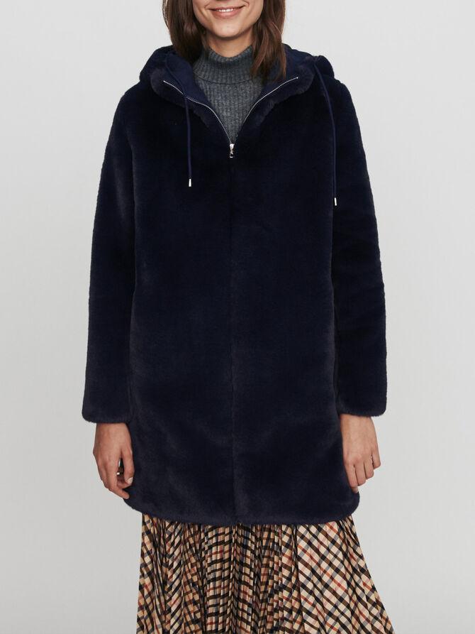 Hooded faux fur jacket - SoldesFR_Manteaux_50 - MAJE