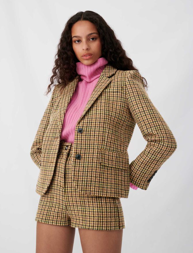 Checked jacket, fitted at the waist - Eco-friendly - MAJE
