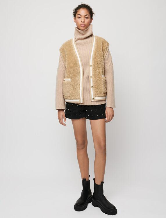 Fur-effect sleeveless cardigan - Knitwear - MAJE