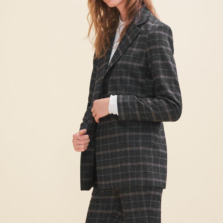 Long tartan jacket : Jackets & Blazers color Jacquard