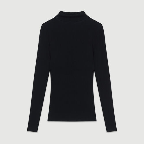 Turtleneck skinny ribbed sweater : Knitwear color Black 210