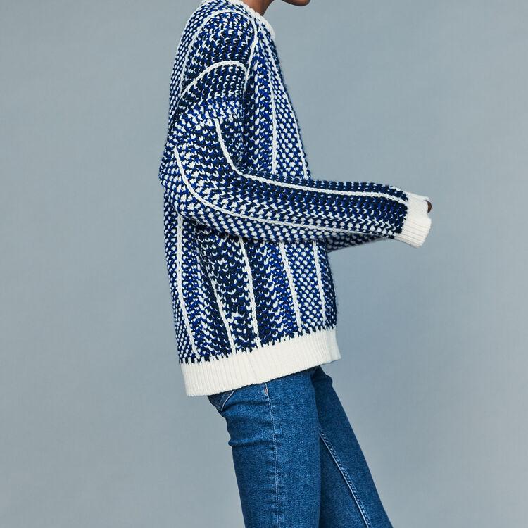 Jacquard knit sweater : Knitwear color Blue