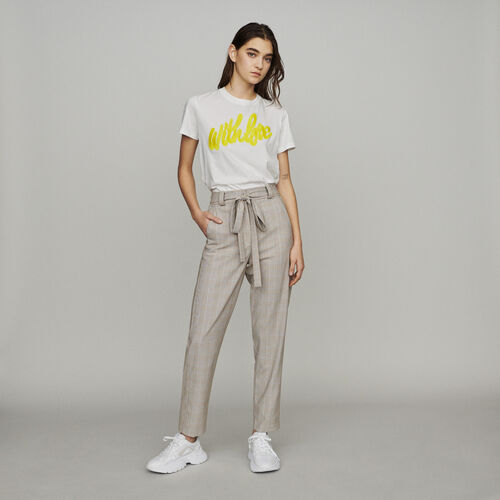 Belted checked trousers : Trousers color CARREAUX