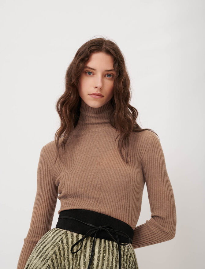 Fine ribbed sweater, stand-up collar - This week - MAJE