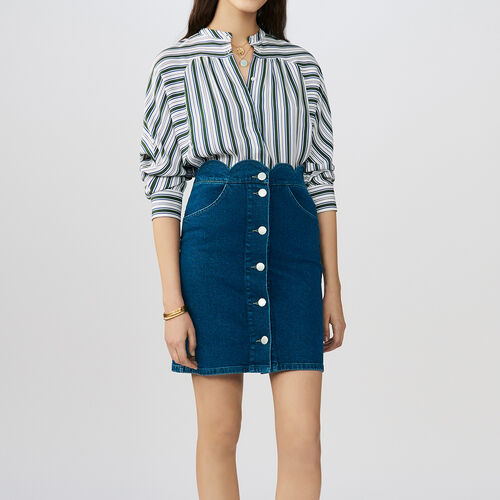 Denim shirt with fancy cutting : Skirts & Shorts color Denim