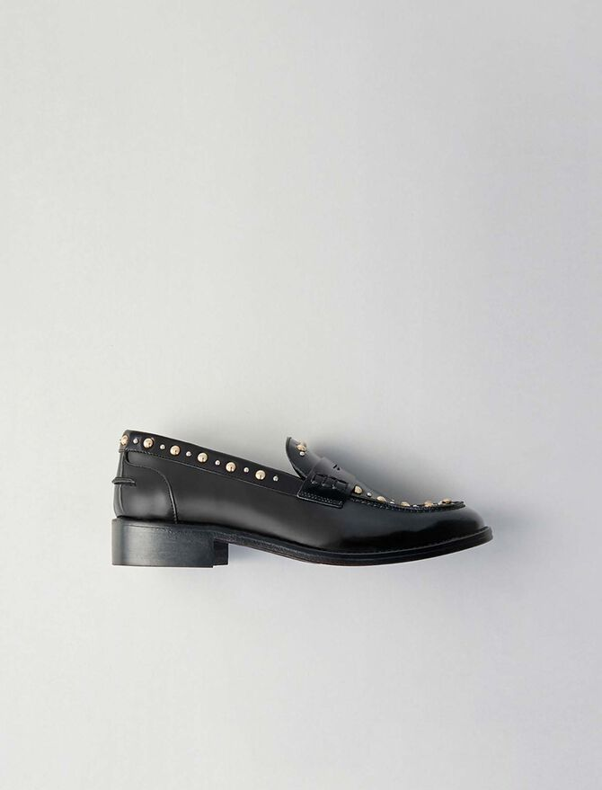 Studded glazed leather moccasins -  - MAJE