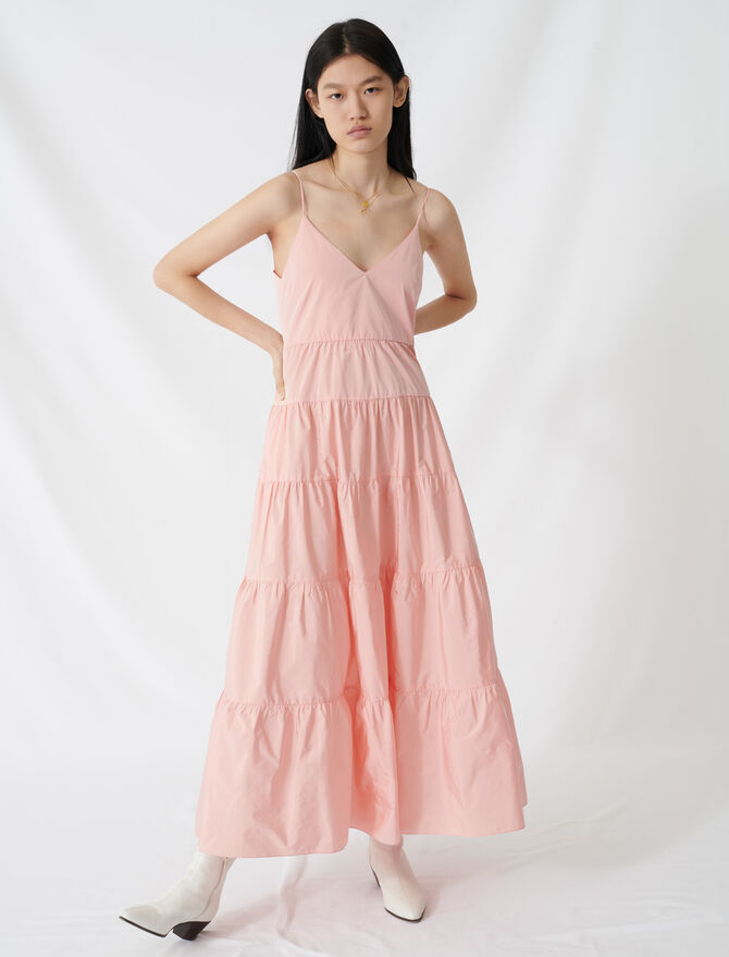 Taffeta maxi dress with thin straps - Dresses - MAJE