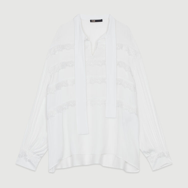 Blouse with embroidered ruffles : Tops color White