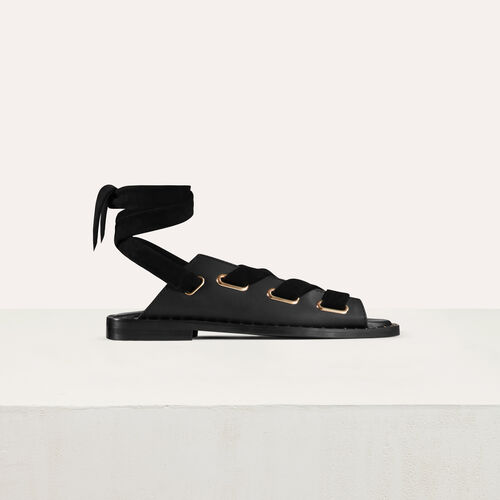 Leather sandals : Shoes color Black 210