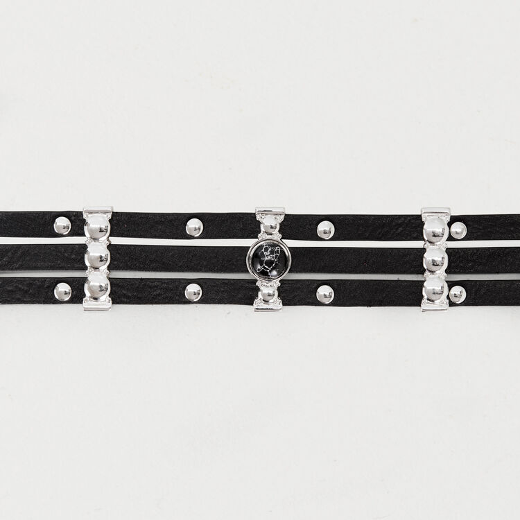 High-waisted leather belt and studs : New collection color Black 210