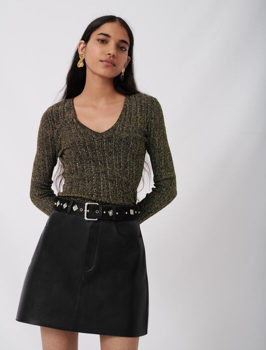 Leather skirt with fancy belt : Last Chance color