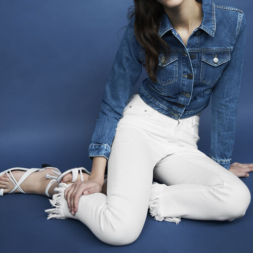 Straight cut jeans with fringed hem : Trousers & Jeans color White