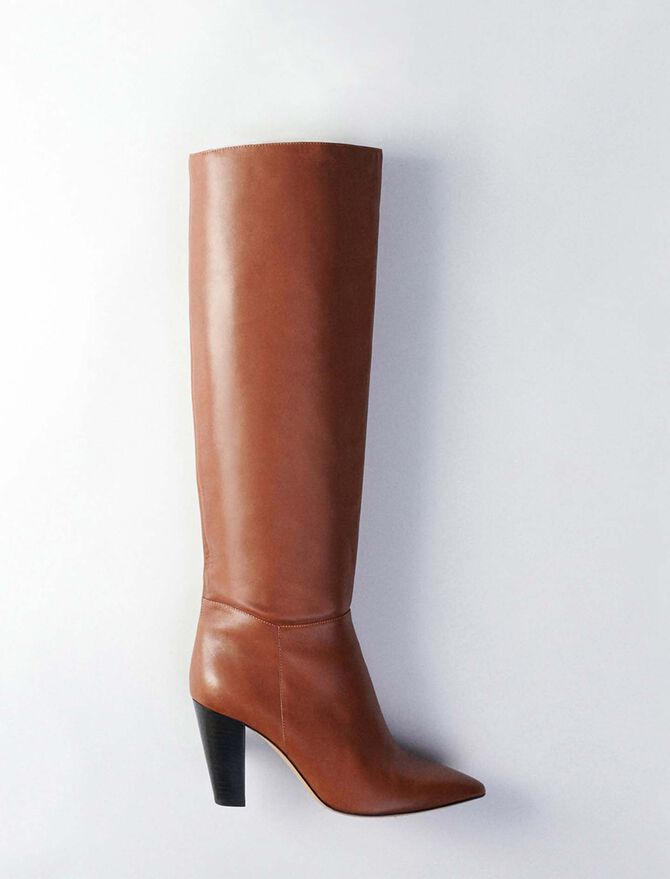 Heeled smooth leather boots - All Shoes - MAJE