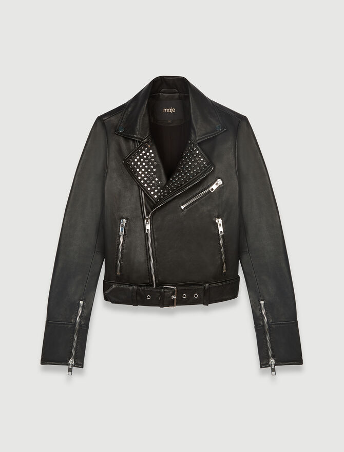 Leather biker-style jacket with studs - Coats & Jackets - MAJE