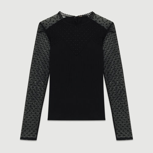 T-shirt in cotton and Swiss dot : T-Shirts color Black 210