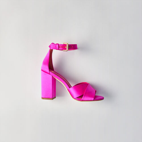 Heeled satin sandals : Slipper color Fluorescent Pink