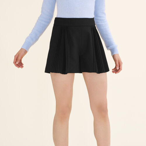 Cropped shorts with pleated details - Skirts & Shorts - MAJE