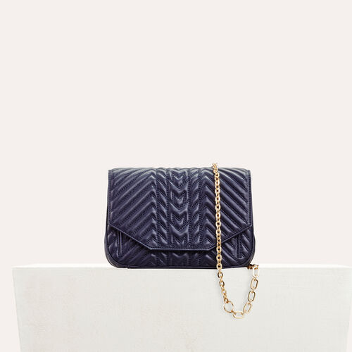 Quilted leather evening bag : Sacs color Navy