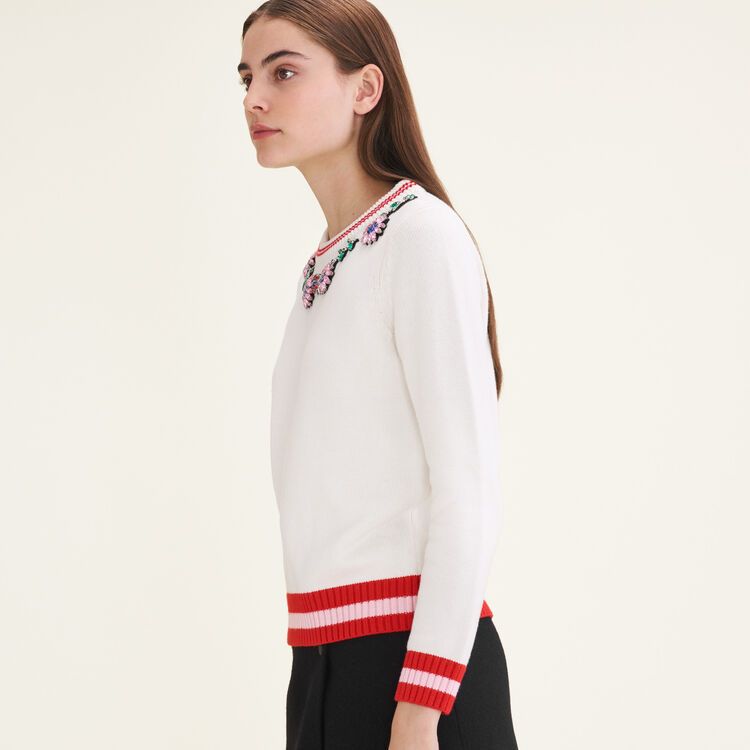 Jumper with decorative jewellery : Sweaters & Cardigans color Ecru