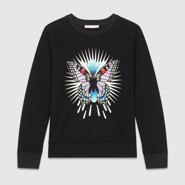 Sweatshirt with embroidered butterfly : Sweatshirts color Black 210