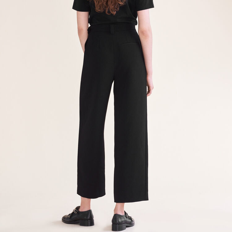Wide leg trousers with belt : Trousers & Jeans color Black 210