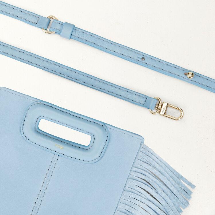 Fringed suede M minibag : M Mini color Blue Sky