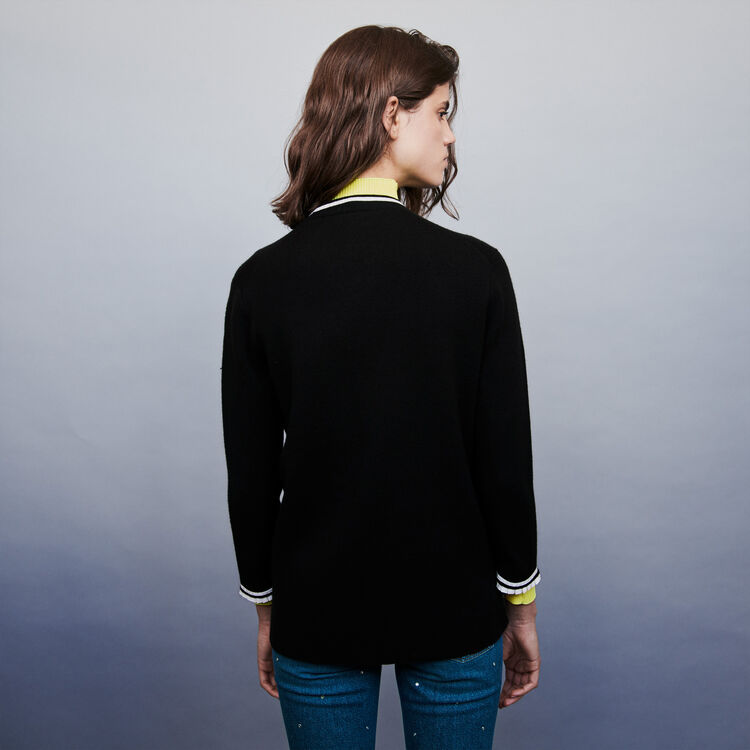 Jeweled contrast cardigan : Knitwear color Black