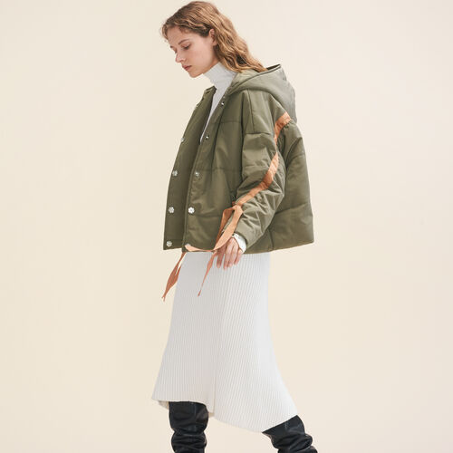 Cropped hooded down jacket : Coats color Khaki