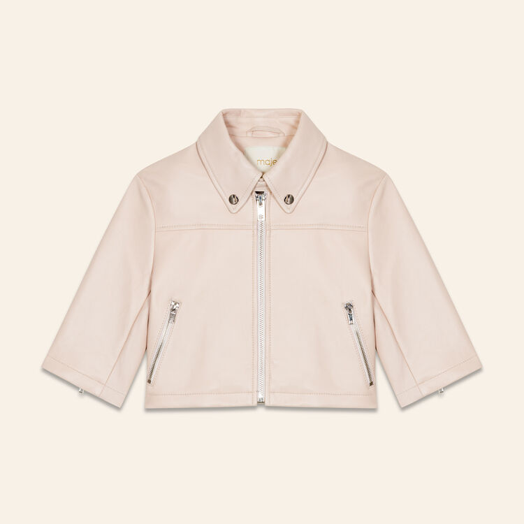 Cropped leather jacket : Jackets color Pink