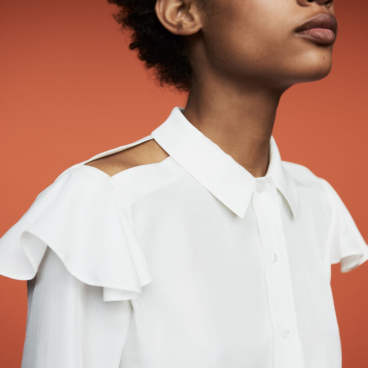 Ruffled silk blouse : Shirts color White