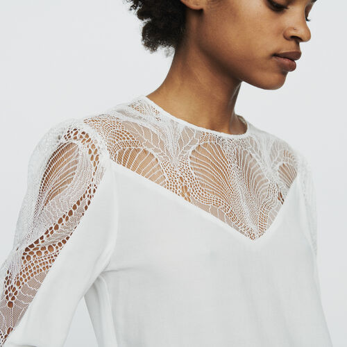 Top with lace : Tops & Shirts color White