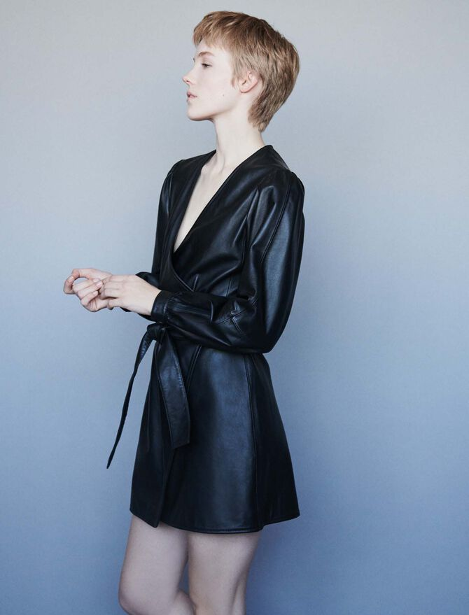 Leather wrap dress - SoldesFR_Robes - MAJE