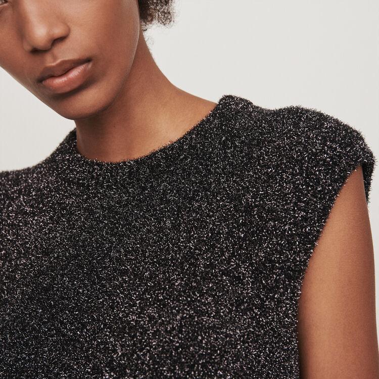 Lurex sleeveless sweater : Knitwear color Silver