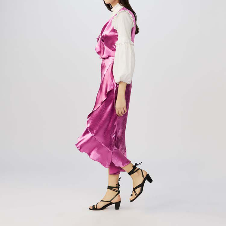 Sleeveless satin wrap dress : Dresses color Fuschia