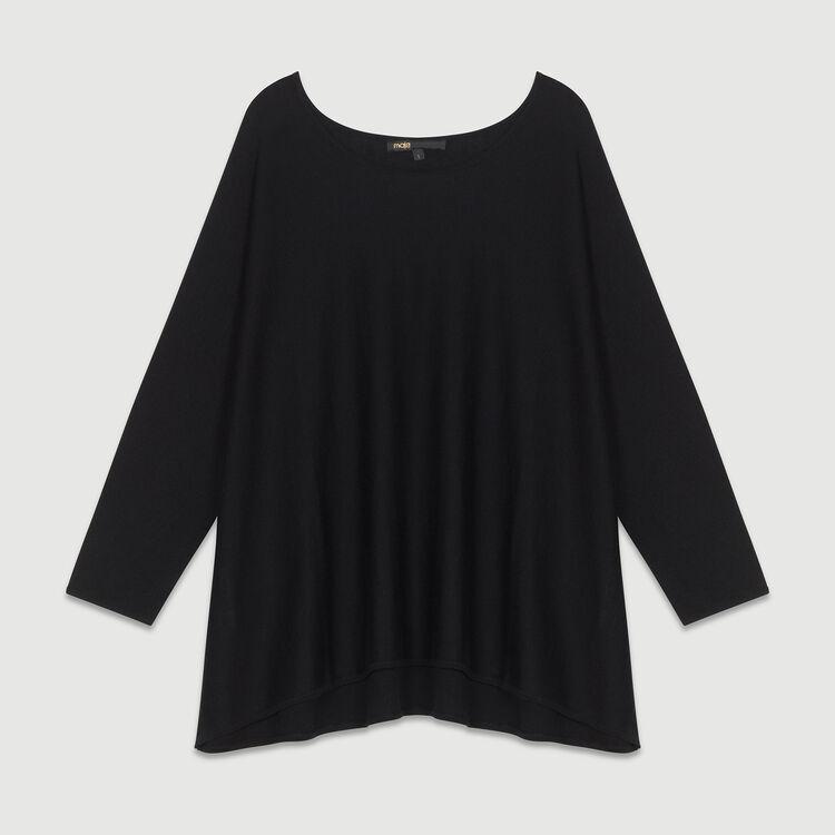 Oversized sweater in silk blend : Knitwear color Black 210