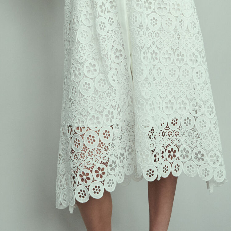 Midi dress in daisy guipure : Dresses color White