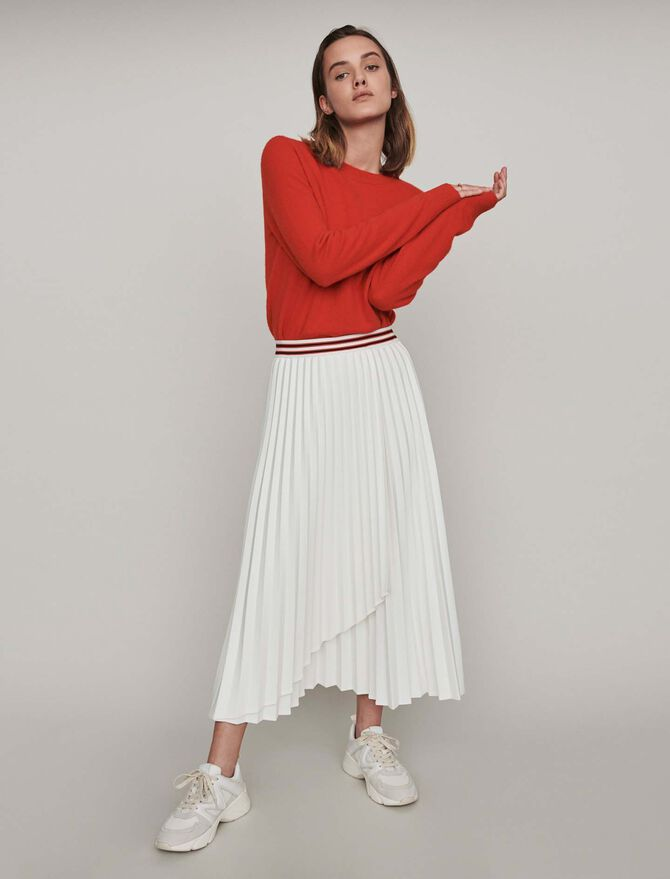 Pleated skirt with contrasting stripes - Skirts & Shorts - MAJE
