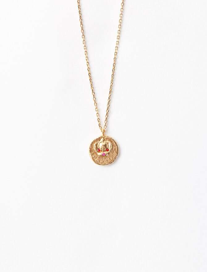 """Ma Reine"" gold-plated necklace - Sentimental medals - MAJE"