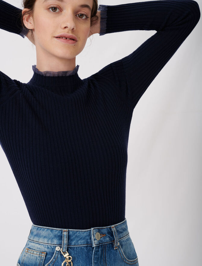 Ribbed sweater with Peter Pan collar -  - MAJE