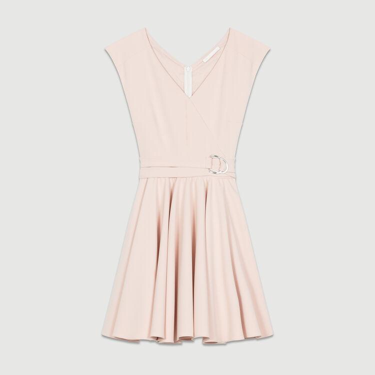 Sleeveless crepe skater skirt : Dresses color Pink