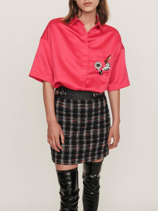 Satin shirt with jeweled pocket - Tops & Shirts - MAJE