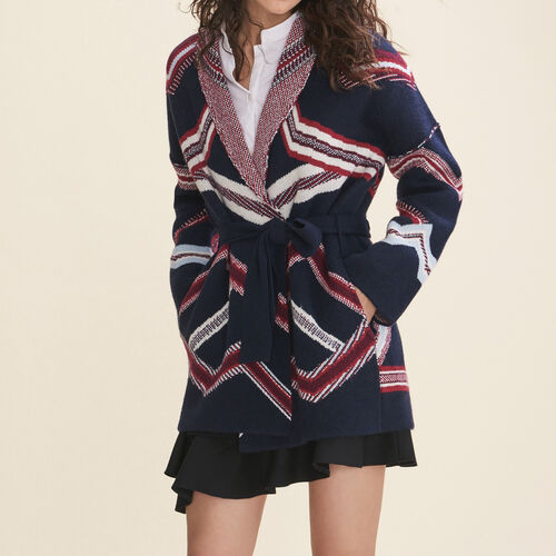 Jacquard cardigan : Knitwear color Navy