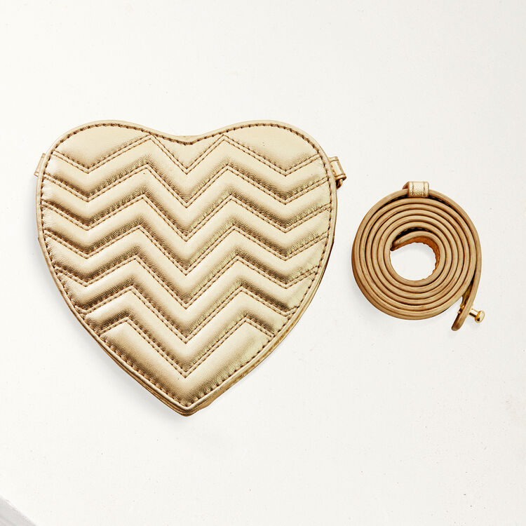 Quilted leather heart-shaped saddle bag : Summer collection color Gold