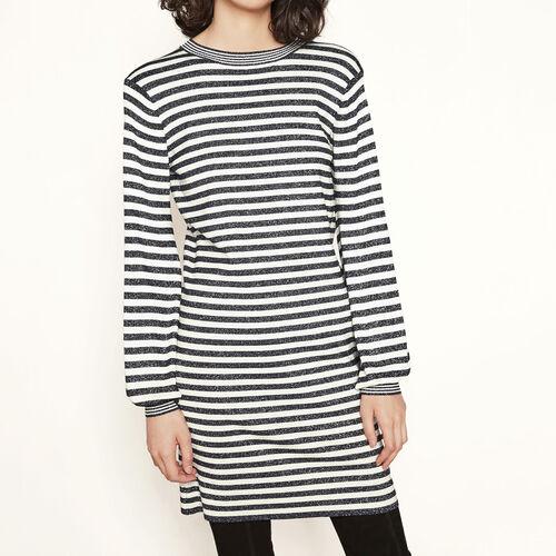 Lurex knit sailor-style dress : Dresses color Two-Tone