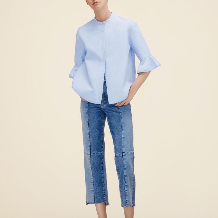 Striped poplin shirt : Shirts color Blue Sky