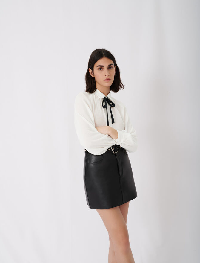 Flowing shirt with pussy-bow collar - New collection - MAJE